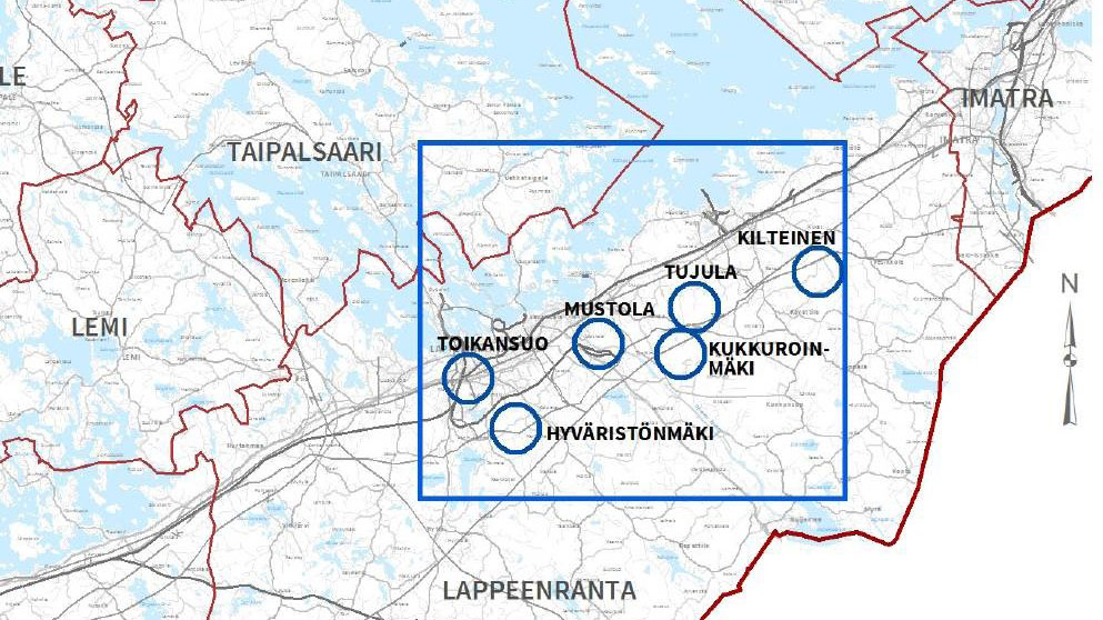 Kartta vaihemaakuntakaavasta