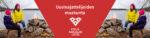 Nuotiolla kaksi henkilöä järven rannalla. Punaisella pohjalla teksti: Uusinajattelijoiden maakunta. Lisäksi Etelä-Karjalan liiton logo.