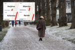 kuvituskuvassa vanhus kulkee poispäin keppiin nojaten talvisella polulla