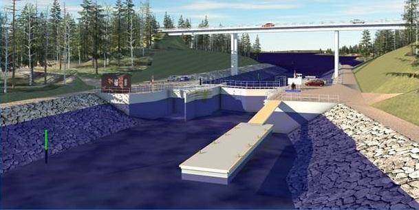 3D-mallinnettu kuva Kutilan kanavasta.