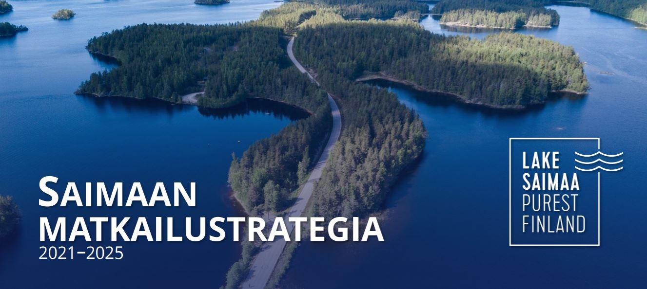 Kuvassa matkailustrategian kannessa oleva Saimaan järvimaisema.