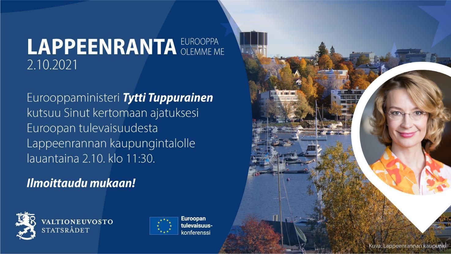 Tapahtumailmoitus, jossa on kuvat Lappeenrannan satamasta sekä Tytti Tuppuraisesta.