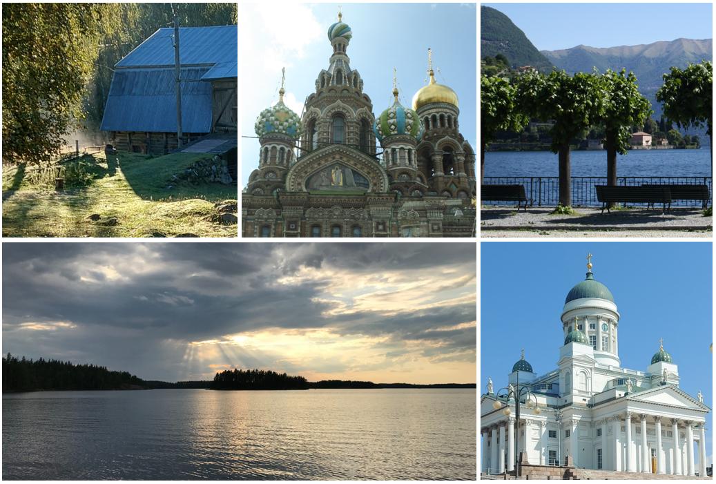 Kuvakooste. Viisi kuvaa, joista yksi on järvimaisema, yksi Pietarin kirkosta, yksi kuva Como-järveltä yksi Helsingin tuomiokirkosta.